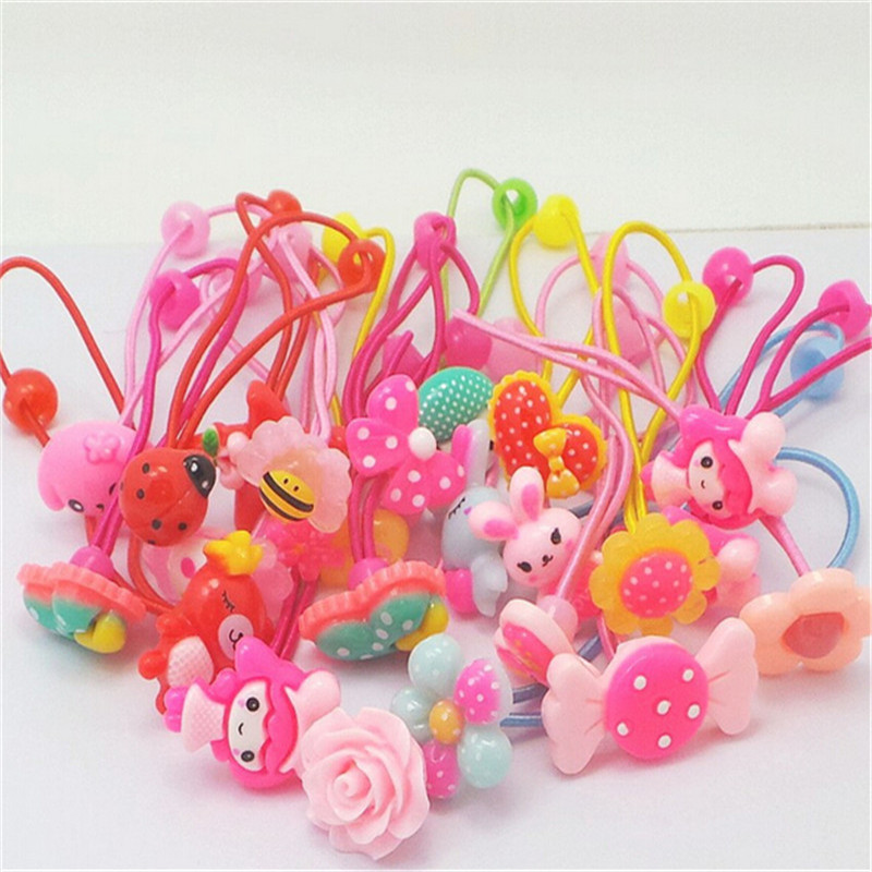 AKWZMLY 20 Pcs Girls Headband Flower Hair Elastic Bands Scrunchy Ponytail Holder Accessories Bow Animals Pattern Ropes Ties m mism new arrival korean style girls hair elastics big bow dot flora ponytail rubber hair rope hair accessories scrunchy women