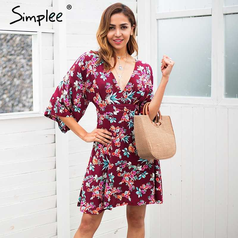 28a966126899 Simplee Backless v neck floral print summer dress women High waist boho  midi dress Casual short