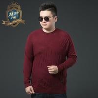 Men Big Size 6XL Sweater Pullovers Men O Neck Long Sweater Jumpers Luxury Mercerizing Fleece Male knitwear Autumn Spring Brand