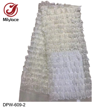 Milylace 2019 lovely French lace fabric wholesale cake skirt lace fabric mesh lace with wavy lace 5 yards for dresses DPW-609
