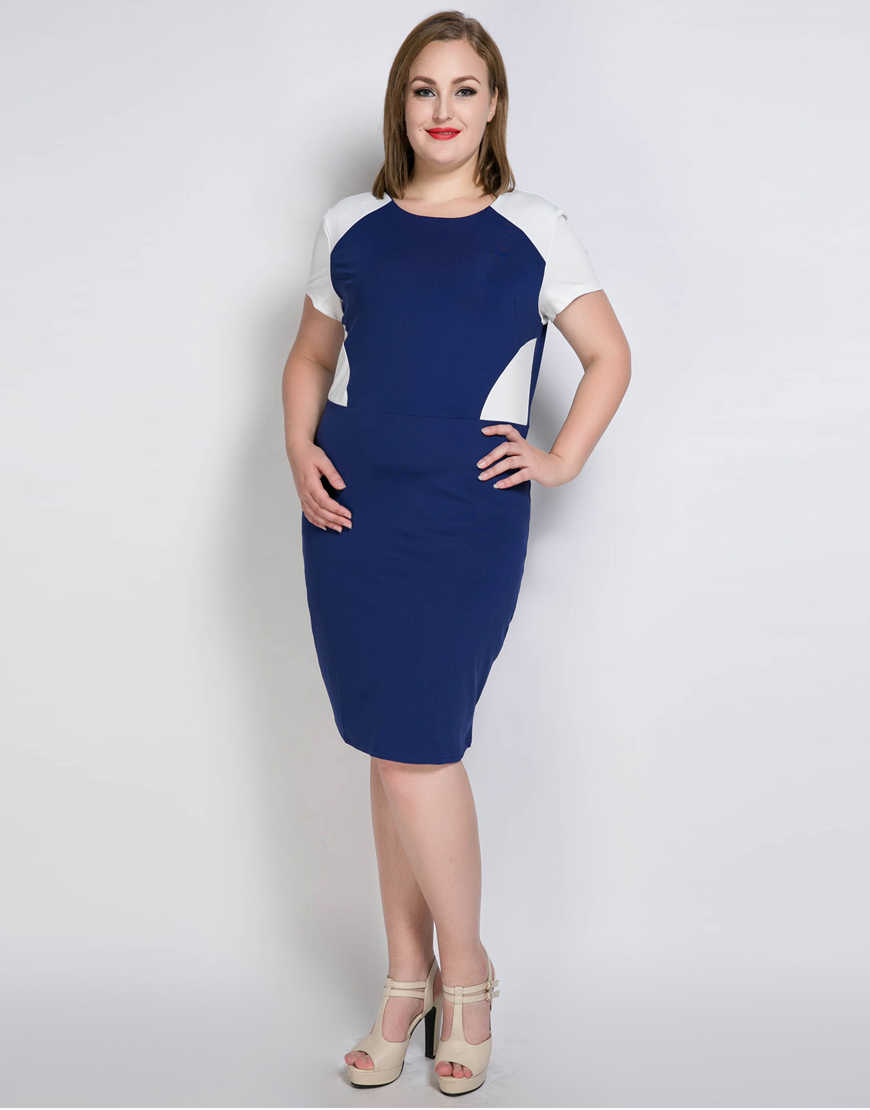 988d6e9c38b ... Cute Ann Women s Plus Size Cocktail Party Dress Color Blocked Short  Sleeve Semi Formal Summer Spring ...