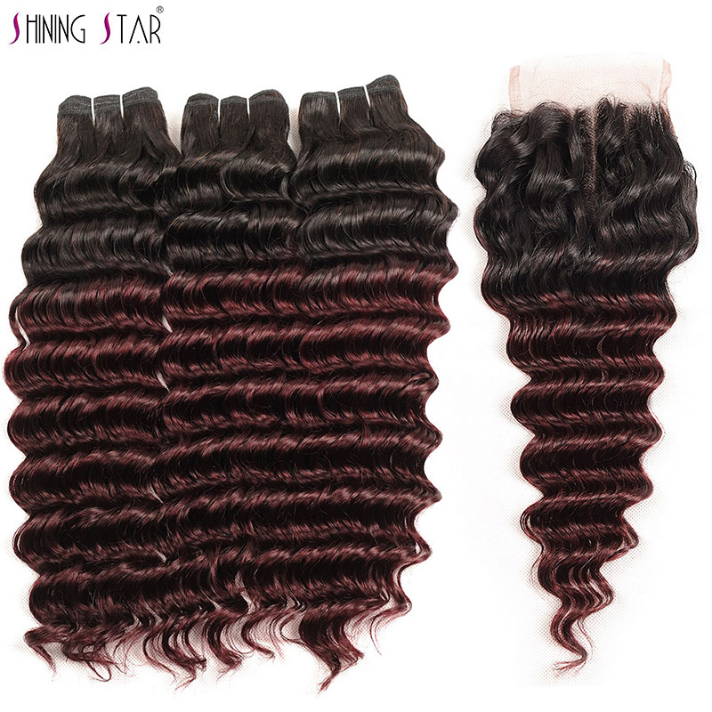 Ombre 1B Burgundy 99J Deep Wave 3 Bundles With Closure Human Hair Brazilian Hair Weave Bundles
