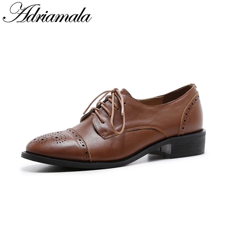 2018 Spring Cow Leather Lace-up Brogue Shoe Brand Designer Fashion Round Toe Genuine Leather Low Heel Women Dress Shoe Adriamala fashion venetian pearl decoration sunglasses brand designer luxury women round sun glasses shades spring summer style eyewear