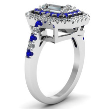 Huitan White&Blue Stone Wedding Finger Ring Vintage Solitaire Square Clear Crystal CZ Prong Setting Factory Wholesale Lots&Bulk