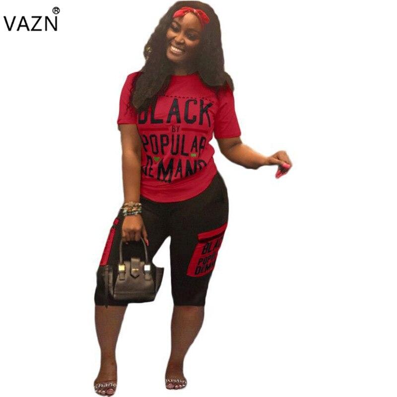 VAZN Plus Size New Women Student Fashion 2019 Casual 2 Piece Set Letter Short Sleeve Top Short Pants Suit Tracksuits Set LSD8332