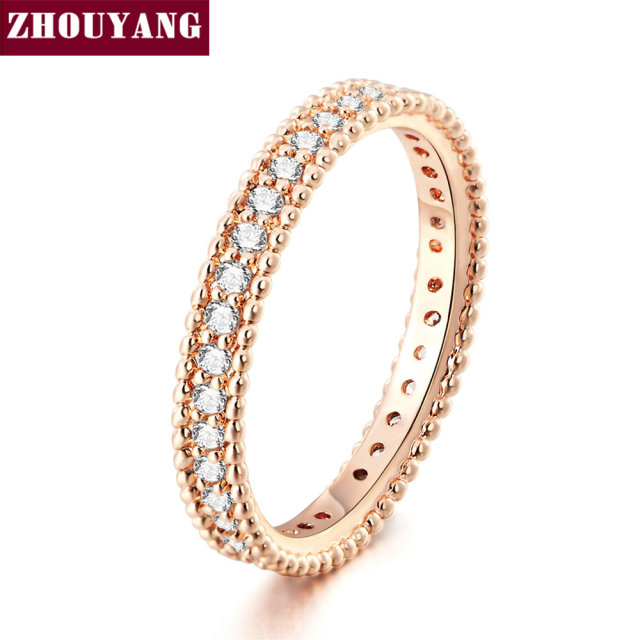 ZHOUYANG Wedding Ring For Women Simple Classic Cubic Zirconia Rose Gold Color We