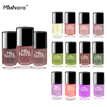 MISS NORA Water-based Paint Nail Polish Lacquer Art Design Gel for Top Base Coat Pigment Nude Polishes Dark Khaki