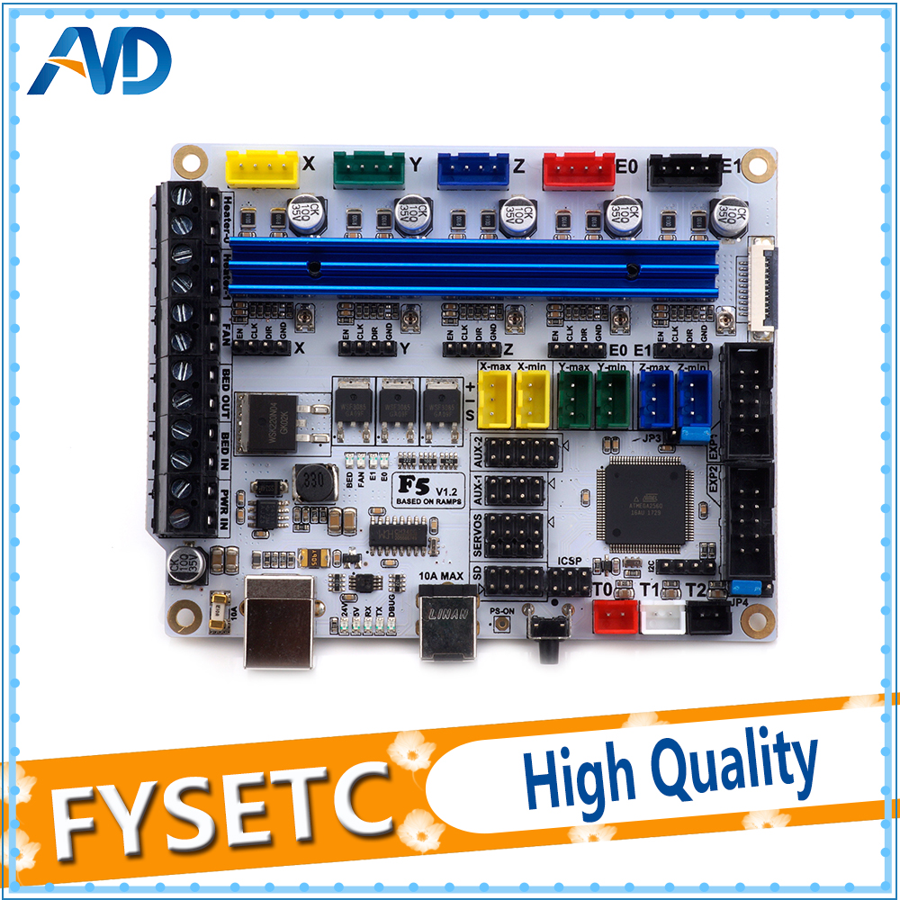 3D Printer Board F5 V1.2 Control Board Based on ATMEGA2560 Replace MKS BASE1.4 & Ramps1.4 ControllerBoard with USB f5 v1 2 control board based on atmega 2560 replace mks base 1 4