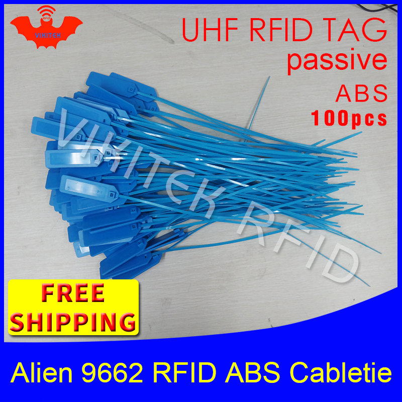 RFID tag UHF ABS cable tie Alien 9662 915m 868m 860-960MHZ Higgs3 EPC 6C 100pcs free shipping smart long range passive RFID tags 860 960mhz long range passive rfid uhf rfid tag for logistic management