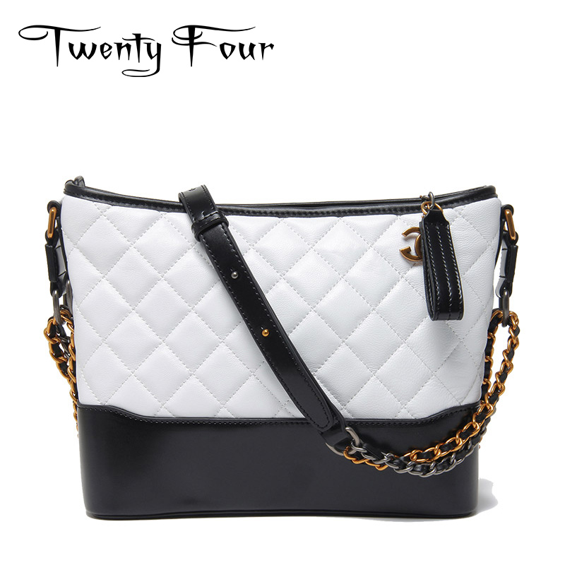 Twenty-four New Women Hobo Bags Genuine Leather Fashion Shoulder Bag With Chain Diamond Check Bags Female Messenger Two Size Bag new style lock catch diamond lattice chain women messenger bags fashion all match shoulder bags soft genuine leather women bag