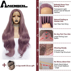 Image 5 - Anogol Purple Long Natural Wave High Temperature Fiber Hairline Hair Wigs Soft Swiss Synthetic Lace Front Wig for White Women