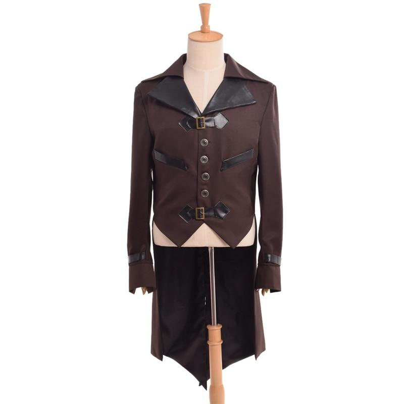 Steampunk kabát férfiak felnőtt viktoriánus vintage férfi aviator kabát Cosplay fecske farkú