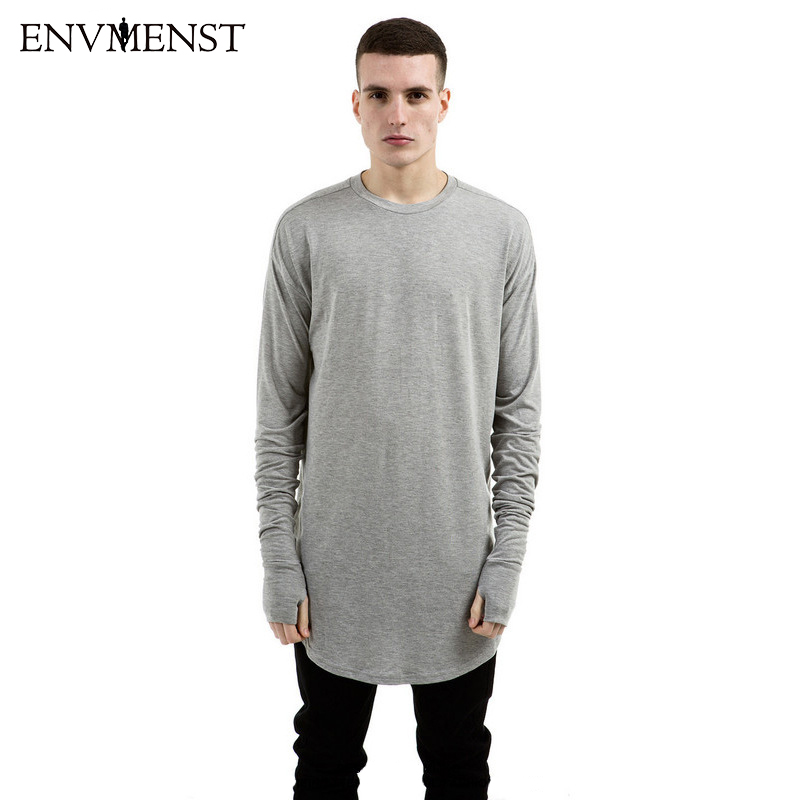 Envmenst 2017 extend hip hop street T-shirt wholesale fashion brand t shirts men summer long sleeve oversize design hold hand