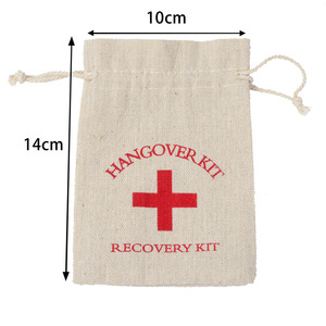 Image 3 - 100pcs 10*14cm Cotton Wedding Hangover Kit Bags for Hen Parties Hangover Recovery Kit Party Favor Gift Bags