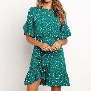 New Green Ruffles Trim Floral Print Women Dress 2020 Summer Short Sleeve O-neck Sashes Dress Ladies Mini Boho Beach Sundresses floral print frill trim dress