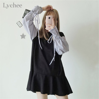 Lychee Spring Summer Sweet Women Dress Striped Patchwork Lace Up Bow Tie Long Sleeve Casual Loose