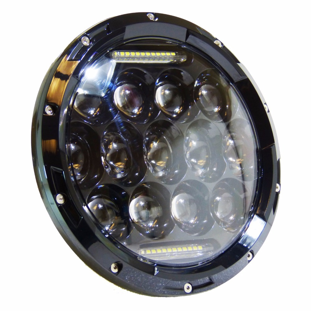 1pcs 7inch 75W Round LED Motorcycle Headlight High Low Beam LED Offroad Driving Lamp for harley Davidson 1pcs 5 75 inch led motorcycle projector daymakers 5 75 inch headlight for harleys dyan h4 hi lo beam lights lamp bulb angle eye