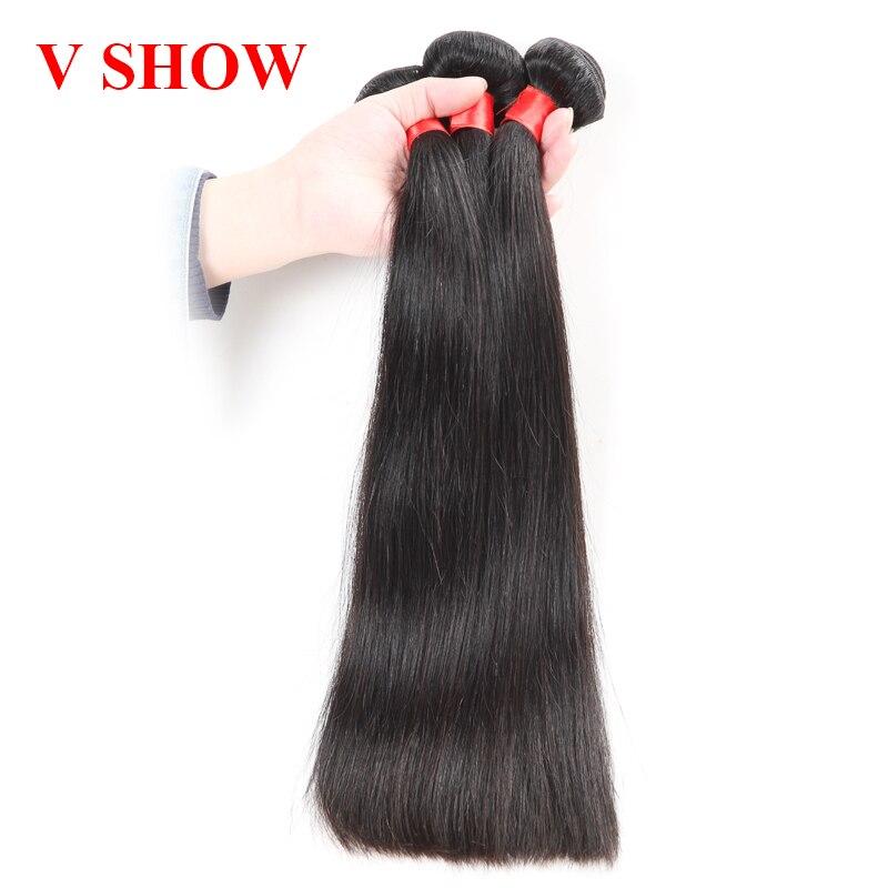 3 Bundles Malaysian Straight Hair 100% Human Hair Weave Bundles Remy - Mänskligt hår (svart)