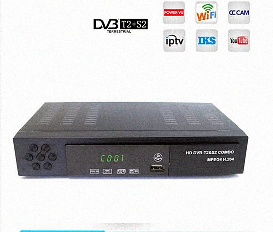 Digital Terrestrial Satellite TV Receiver DVB T2 S2 COMBO DVB-T2 DVB-S2 TV BOX 1080P Video HDMI Ut för Ryssland Europa DVBT2 + S2-1