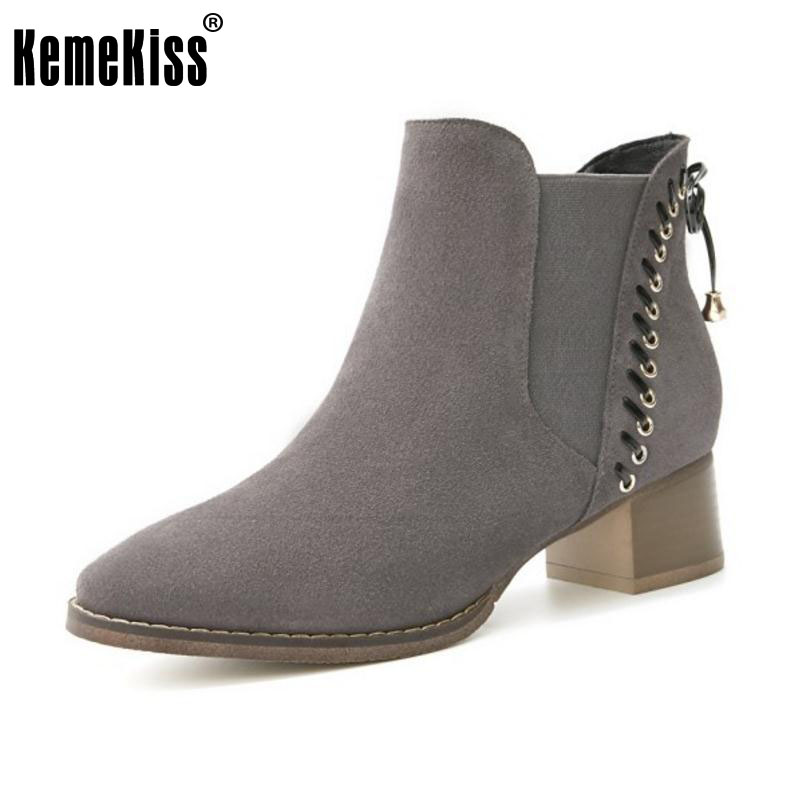 KemeKiss Women Ankle High Heel Boots Real Leather Half Short Boots Winter Botas Warm Handmade Shoes Women Footwears Size 34-40