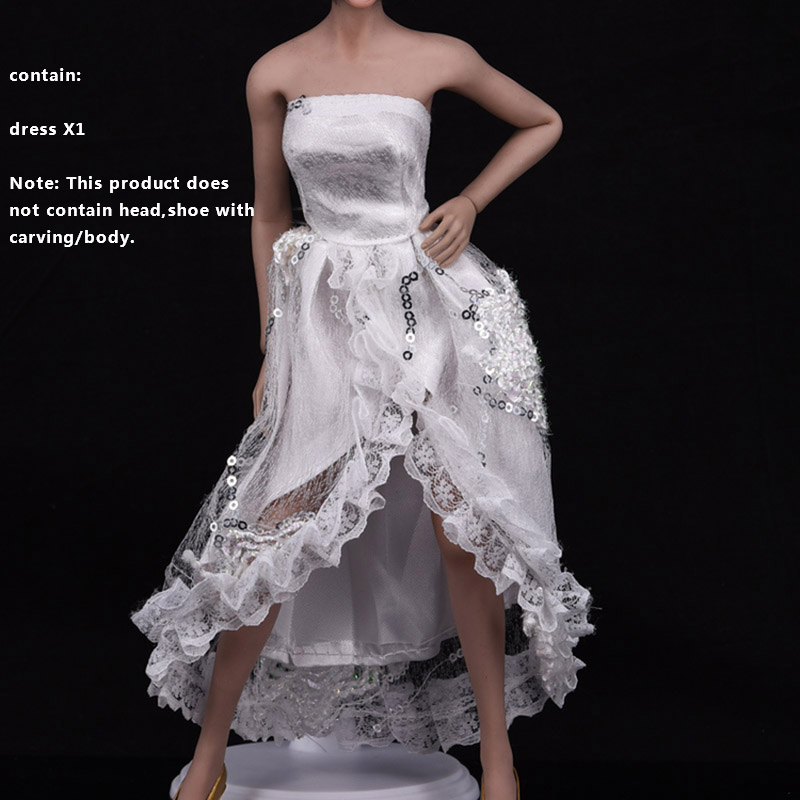 1/6th Scale Female VS Cross Skirt Laciness Dress White Canonicals Fit 12 Inch PHicen Middle/S Bust Action Figure Body Doll Toys