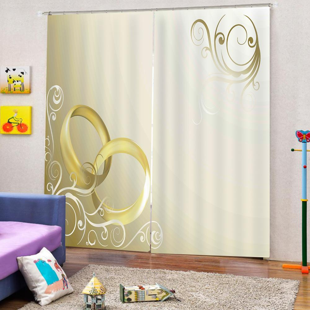 Wedding Curtain Office Bedroom 3D Window Curtain Luxury Living Room Decorate Cortina Yellow Curtains