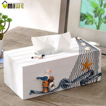 Home Table Decoration Mediterranean Sea Style Pine Facial Tissue Boxes Pumping Paper Bathroom Wooden Napkin Box Holder Cover