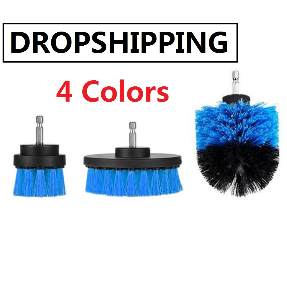 3pcs/set Full Bristle Electric Drill Brush Kit High-strength Plastic Scrub Clean Brushes Leather Furniture Tire Cleaning Tools недорого