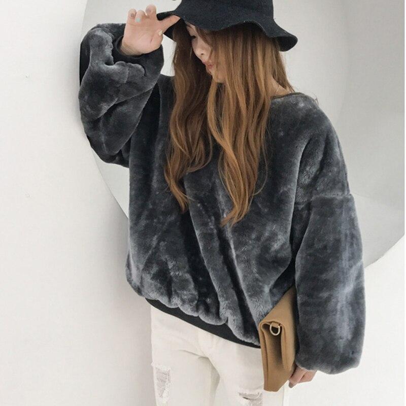 2017 Winter New Women Hairy Hoodies Fluffy Thick Warm Long Sleeve Faux Fur Sweatshirts Pullovers Overcoat Jacket Big Size Tops