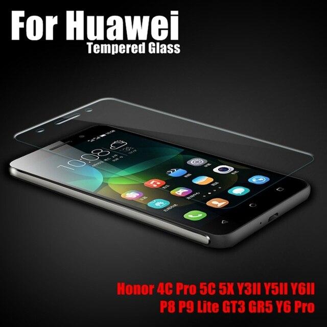 Закаленное Стекло Для Huawei Фильм P9 Lite P8 GT3 GR5 Y3 II Y5 II 2 У6 II Pro Honor 7 Lite 4C Pro 5C 5X Протектор Экрана Передняя крышка