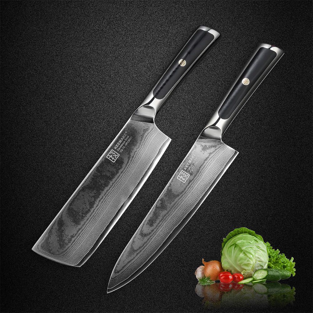 KEEMAKE High Quality 7 Cleaver Knife Damascus Japanese VG10 Steel Blade Kitchen Knives G10 Handle Sharp
