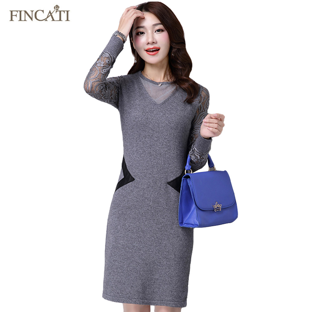 Top Quality Luxury 100 Pure Mink Cashmere Plain Fluff Knit Lace Sleeves Women Sweater Dress Knitwear