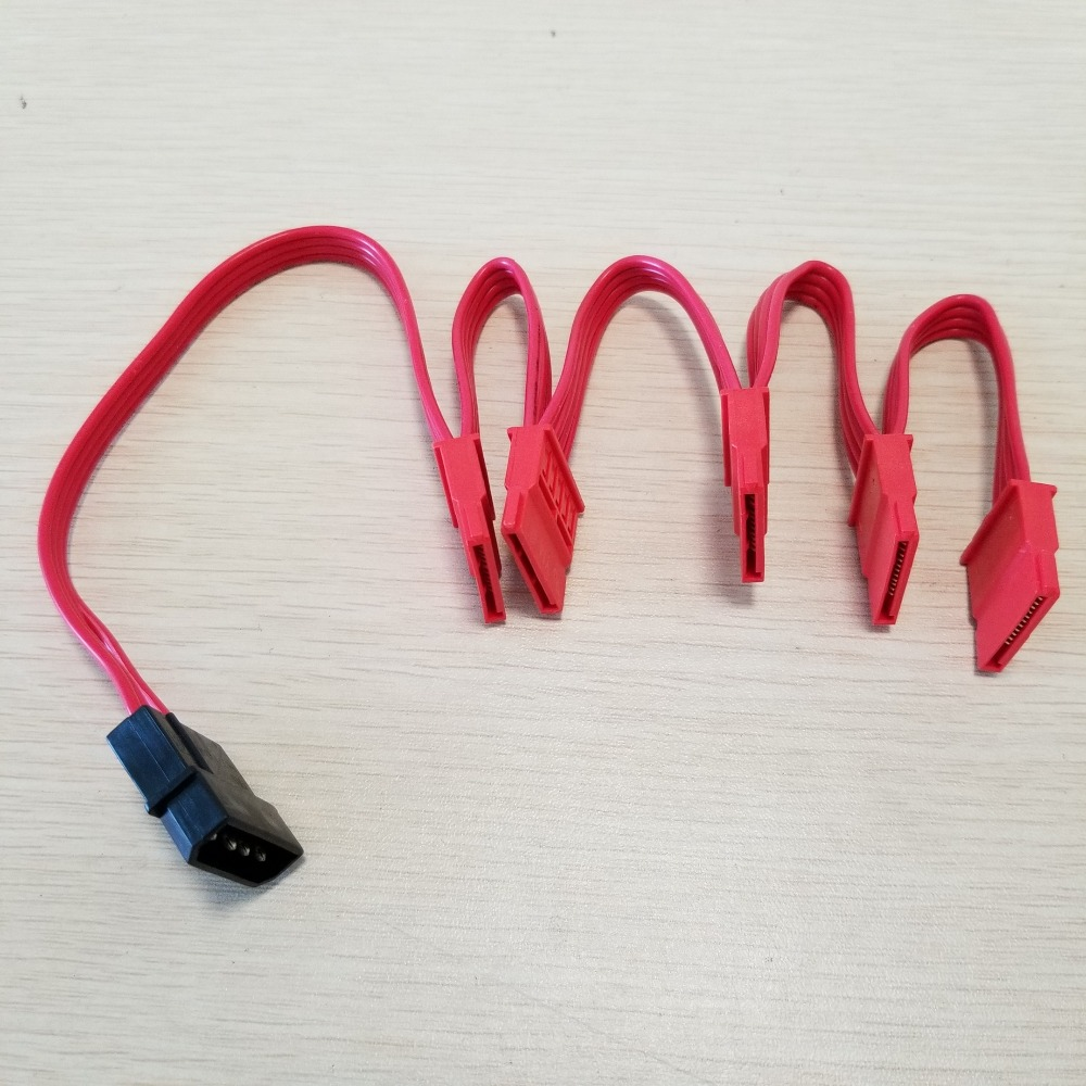 PC Computer DIY 4Pin IDE Molex 1 to 5 15Pin SATA Splitter Hard Drive Power Cable Cord 18AWG Red usb male to 15pin sata female adapter power cable cord 18awg 30cm for laptop 2 5 hard drive hdd ssd
