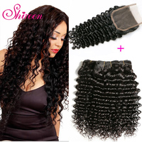Shireen Pre Colored Non Remy Peruvian Deep Wave Hair 3 Bundles With Lace Closure 4 4