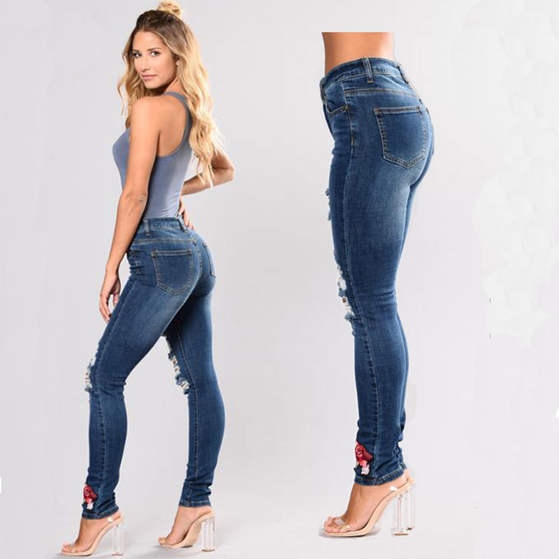Lady Elastic Embroidery Hole Jeans Pencil Pants Zipper Belt Pocket Trousers Rose Flower Skinny Jeans