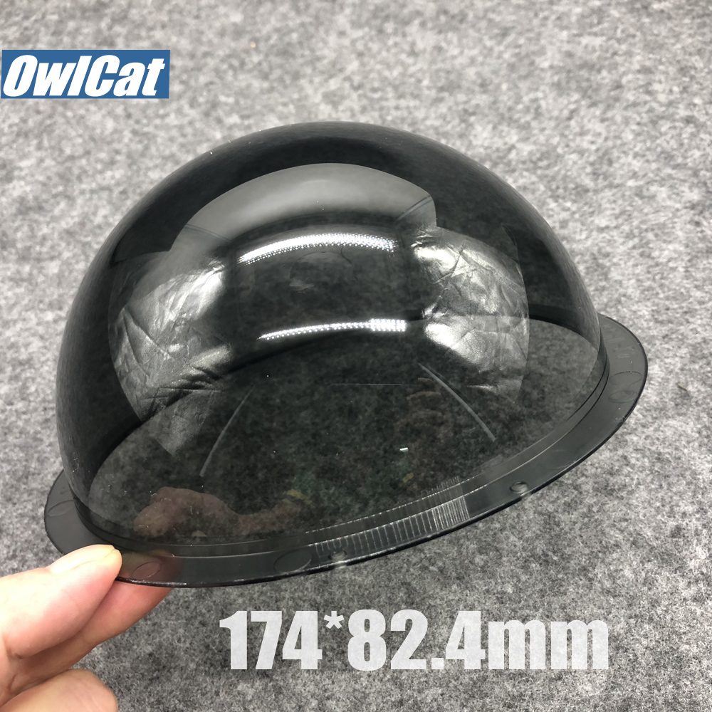 OwlCat Outdoor Dome Case 6.2 inch Outer Dark Gray Acrylic Dome Camera Lens Housing Transparent Cover Replacement 174x82.4mm case 85x45mm security surveillance 3 5 inch transparent acrylic dome camera housing cover antidust lens protect protection case