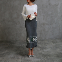 Autumn and winter sheep wool knitted vintage bust long skirt design twist ruffle hem grey elastic slim hip skirt