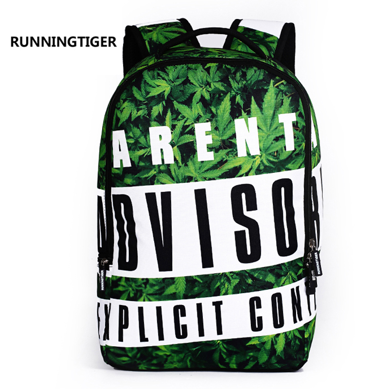 RUNNINGTIGER Men Backpack Hippie Rock Graffiti Printed School Bags for Boys  Travel bags Male Rucksack runningtiger f20471505b724