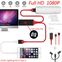 USB-C 3.1 Type C to HDMI TV HDTV Cable HD 1080P DMI Converter Adapter Cables USB Cable for iPhone HDTV TV Digital AV цена 2017