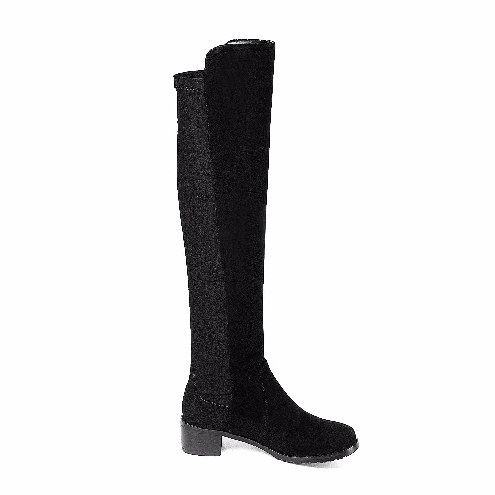 NEMAONE Women Stretch Faux Suede Thigh High Boots Sexy Fashion Over the Knee Boots square heel Woman Shoes size 34-43