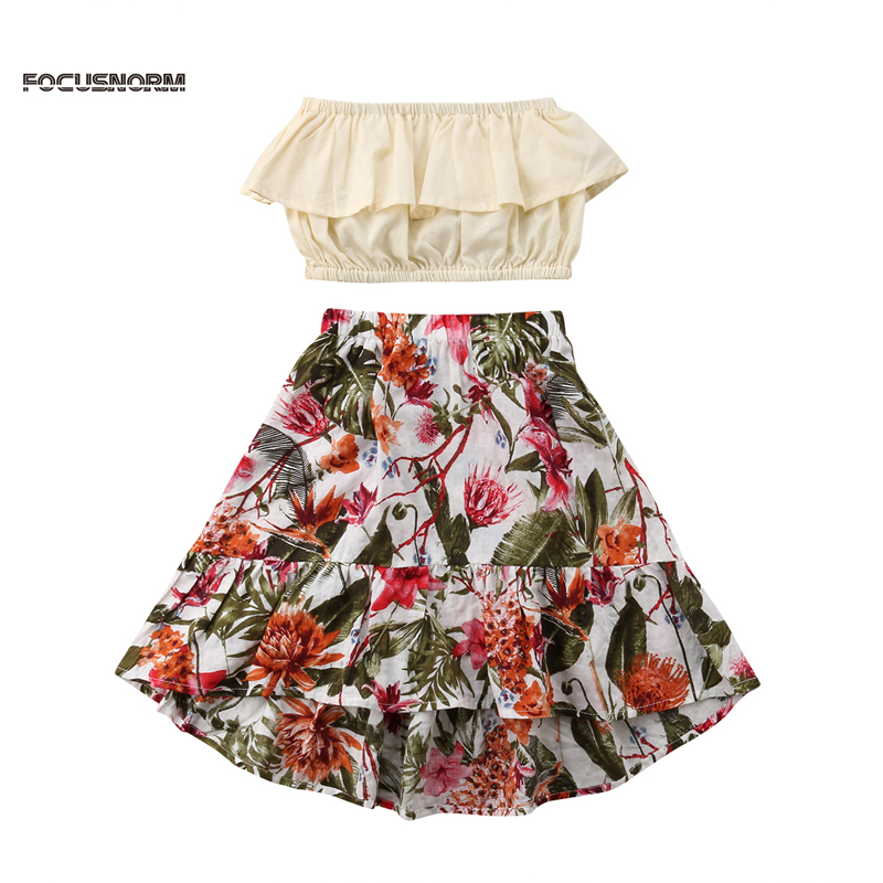 New Fashion 2pcs Toddler Infant Girls Outfits Off Shoulder Print Floral Sleeveless Top+Floral Skirt Kids Clothes Set