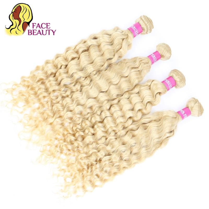 Image 5 - FaceBeauty Honey Blonde Ombre Bundles 1/3/4 Pcs Lot 12  28 Inch Brazilian Remy Human Hair Weave 1B 613 Blonde Curly Hair Bundles-in Hair Weaves from Hair Extensions & Wigs