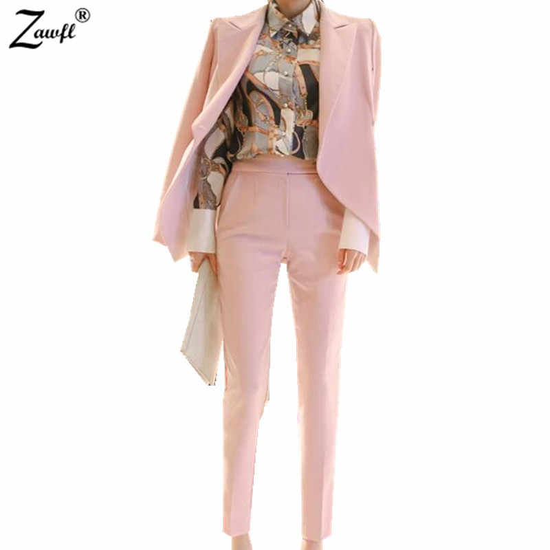 ZAWFL 2019 Autumn New Fashion Women's OL Work Trousers Suit Set Ruffles Blazer+Pants 2Pieces Clothing Set Pink Outfits
