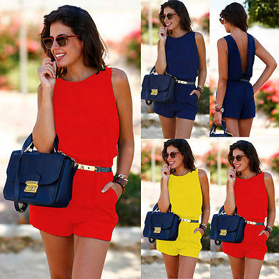 Fashion Women Ladies Casual Summer O Neck Backless Sleeveless Playsuit Clubwear Party   Jumpsuit