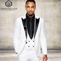 LN066クラシック品質ホワイト男性スーツタキシード衣装ホームビジネススーツ結婚式スーツ用男