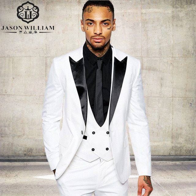 Ln066 Clic Quality White Men Suit Tuxedos Costume Home Business Wedding Suits For