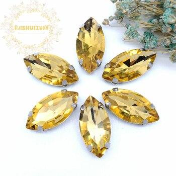 Najlepiej sprzedający się! Złoty żółty koń oko kształt szklany kryształ szyć na dżetów z pazurem Diy buty akcesoria darmowa wysyłka