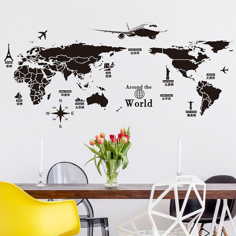 [SHIJUEHEZI] Qara Rəng Dünya xəritəsi Divar Stikeri Vinil DIY - Ev dekoru - Fotoqrafiya 4