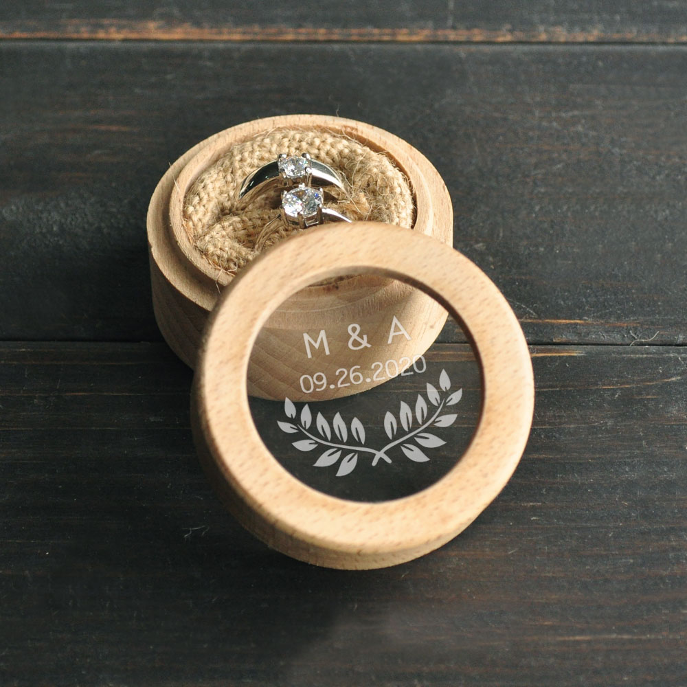 Custom Ring Bearer Box, Personalized Wedding Ring Box, Wooden Ring Holder Box, Rustic Wedding Custom Initials & Date