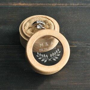 Custom Ring Bearer Box, Personalized Wedding Ring Box, Wooden Ring Holder Box, Rustic Wedding Custom Initials & Date(China)